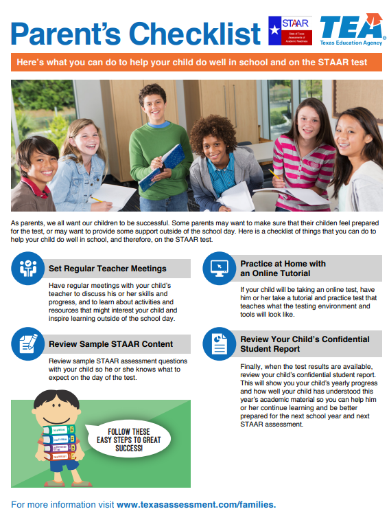 Parent Checklist for helping your child prepare for the STAAR test