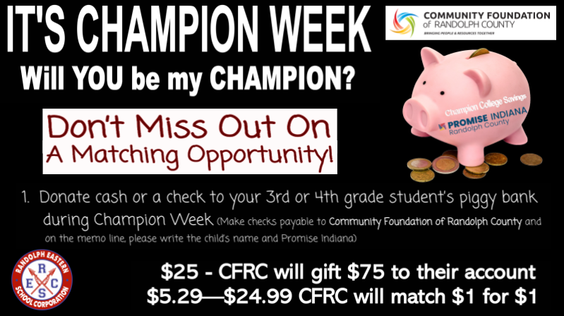 Champions Week for Promise Indiana graphic
