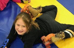 Student wearing skates