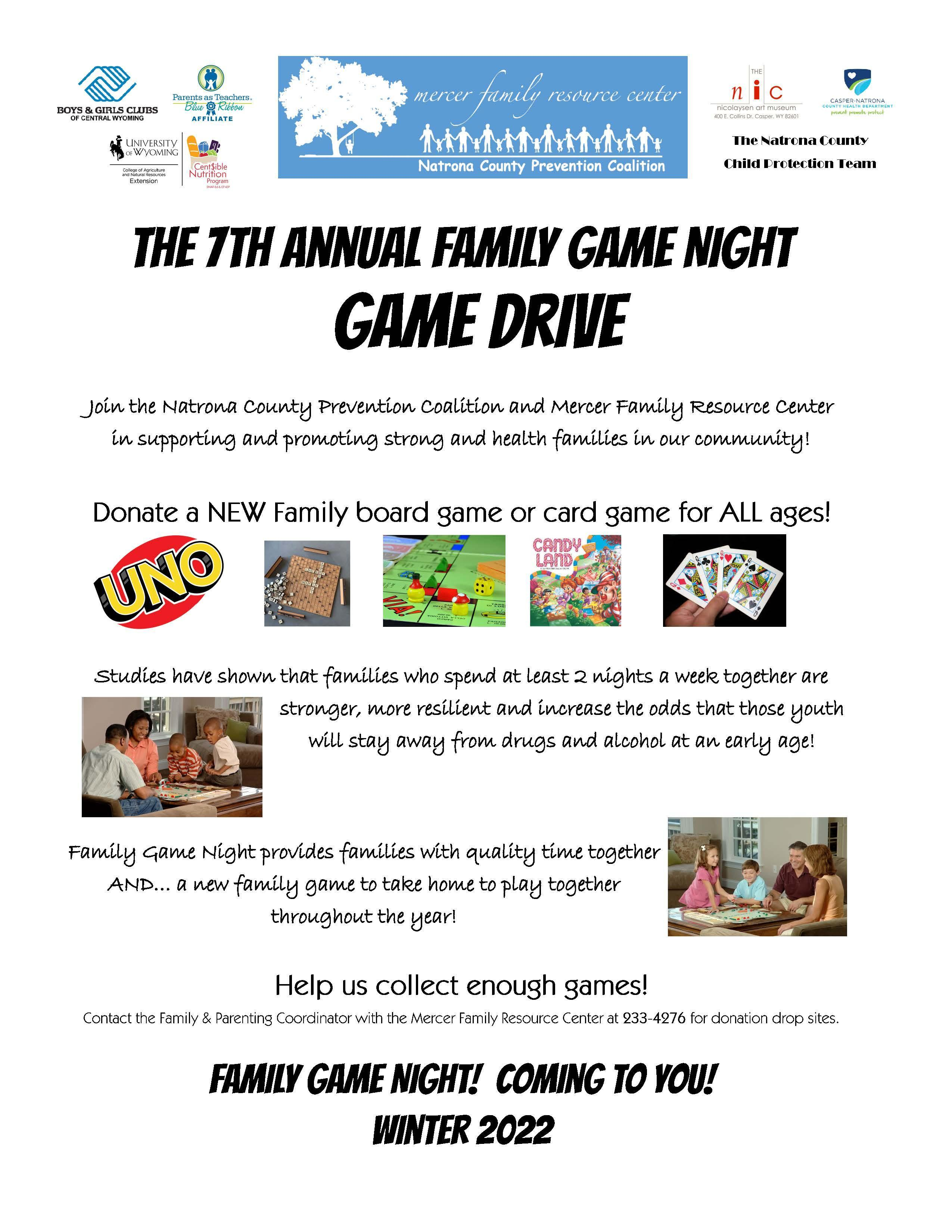 Family Game Night game drive flyer