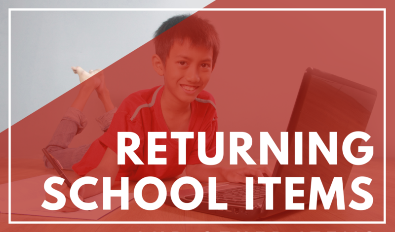 Returning items to school: schedule Featured Photo