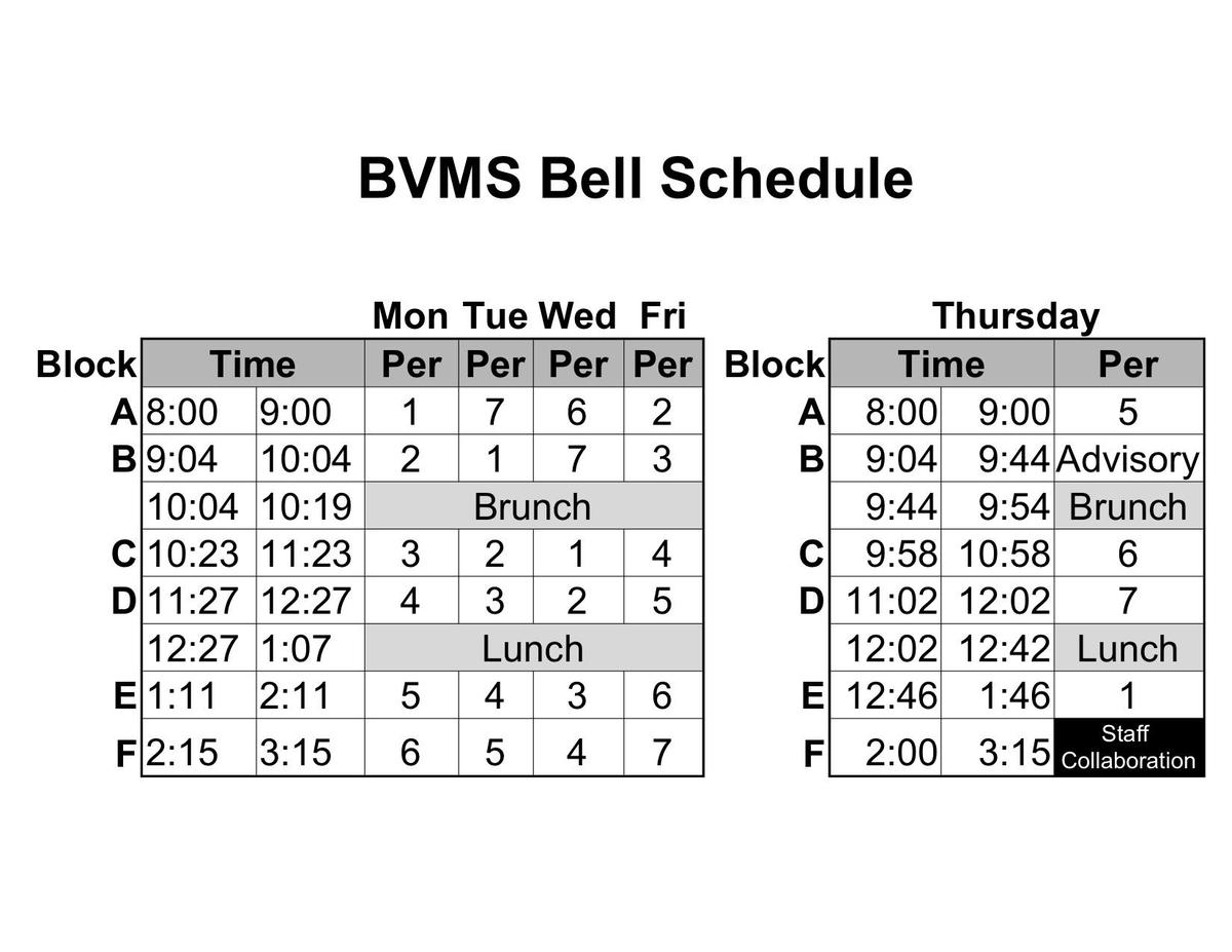 Bell Schedule 2019-2020 Revised