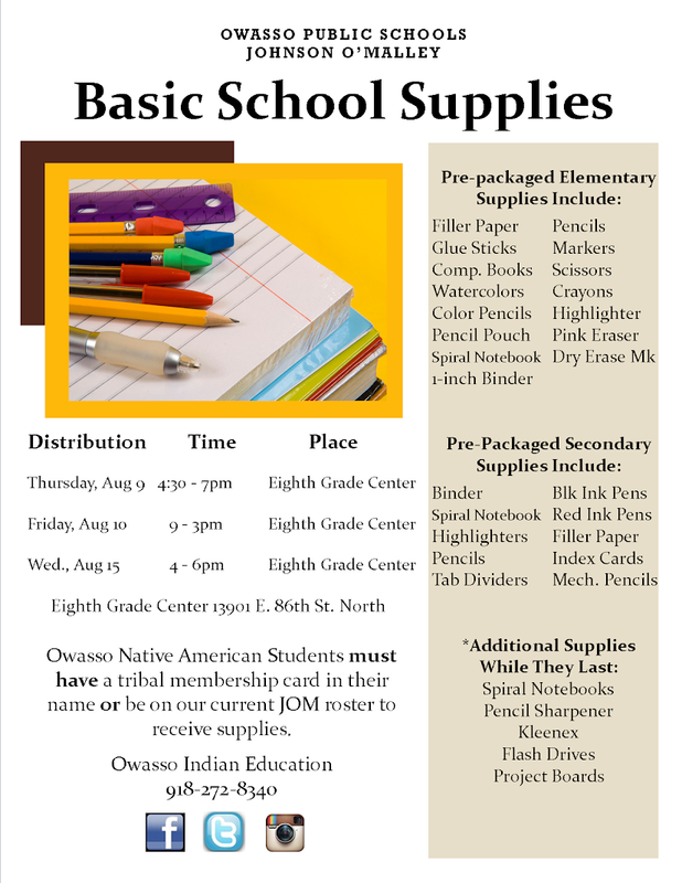 JOM School Supply info