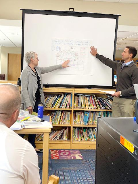 Two administrators pointing at a whiteboard