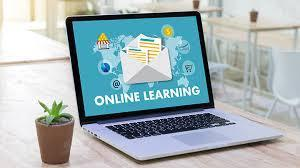 online learning laptop graphic