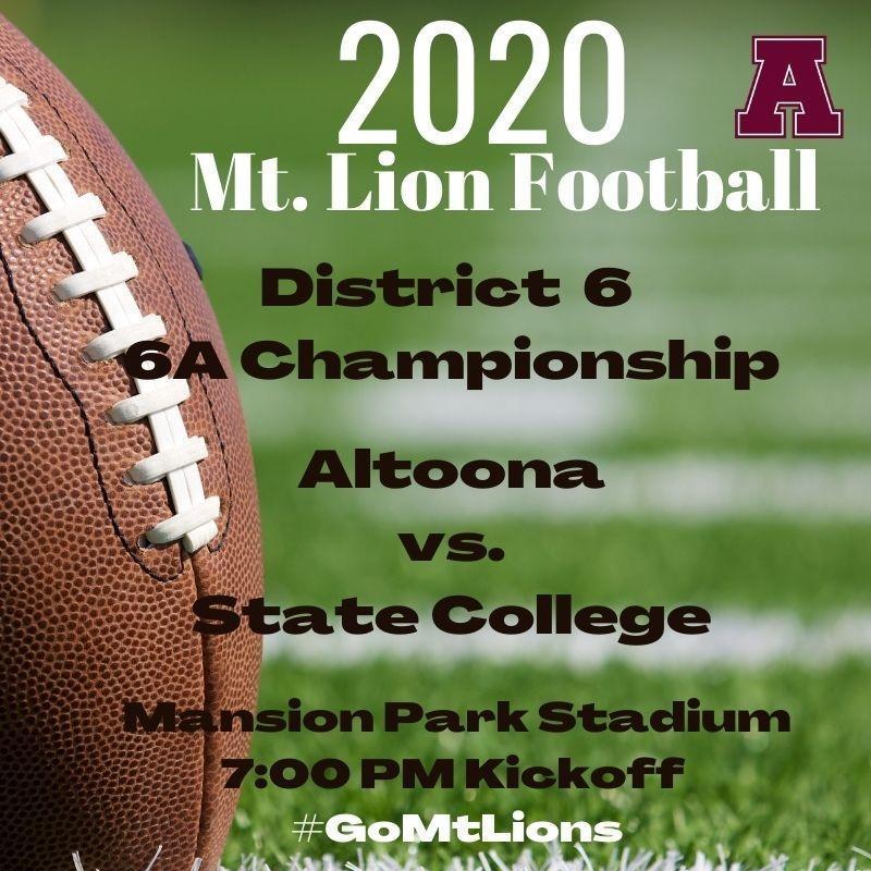 Altoona vs. State College District 6 AAAAAA Championship