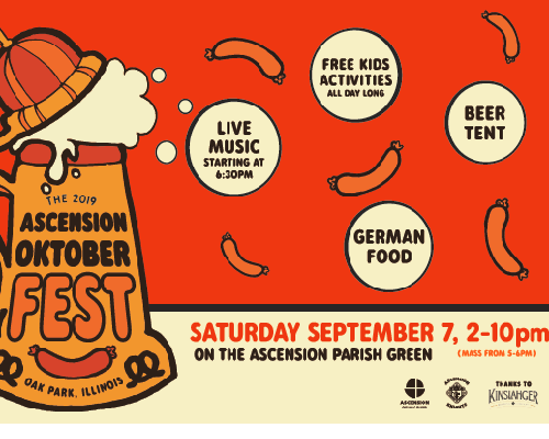 2019 Ascension Oktoberfest is Saturday, September 7 from 2-10 PM. Featured Photo