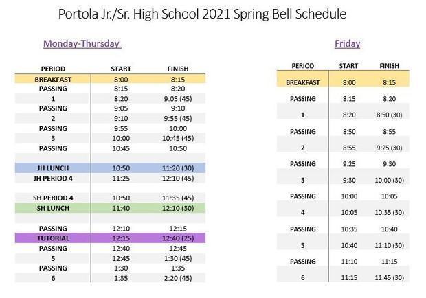 PHS bell schedule