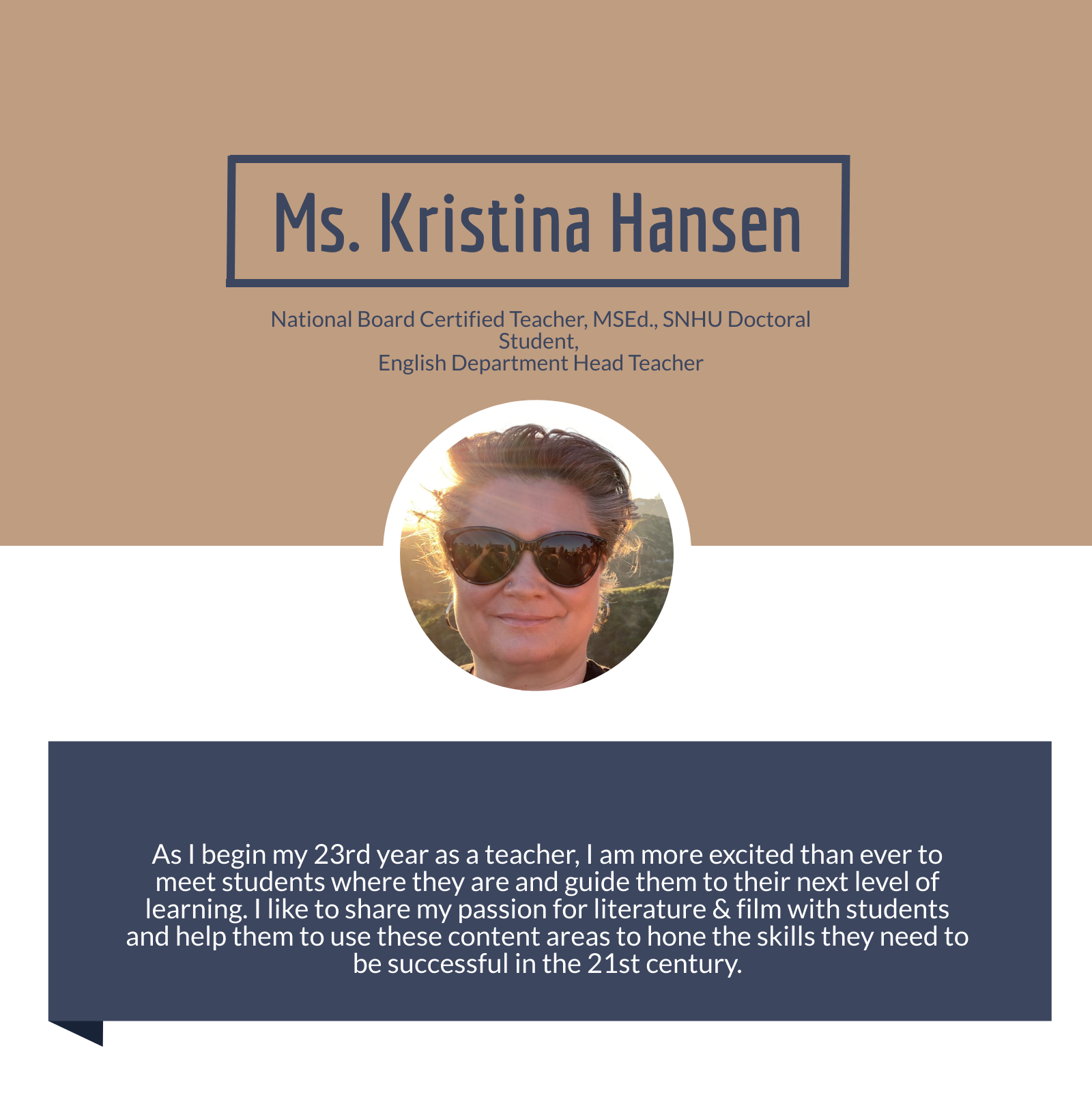 Picture of Ms. Hansen, department head and national board certified teacher