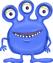 Clip art three eyed blue monster.