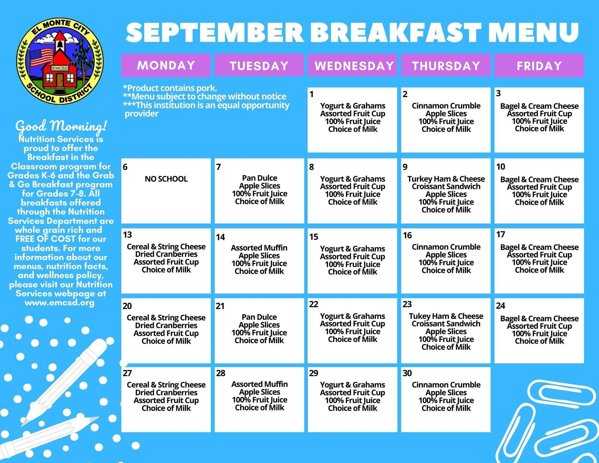 September K-8 Breakfast Menu