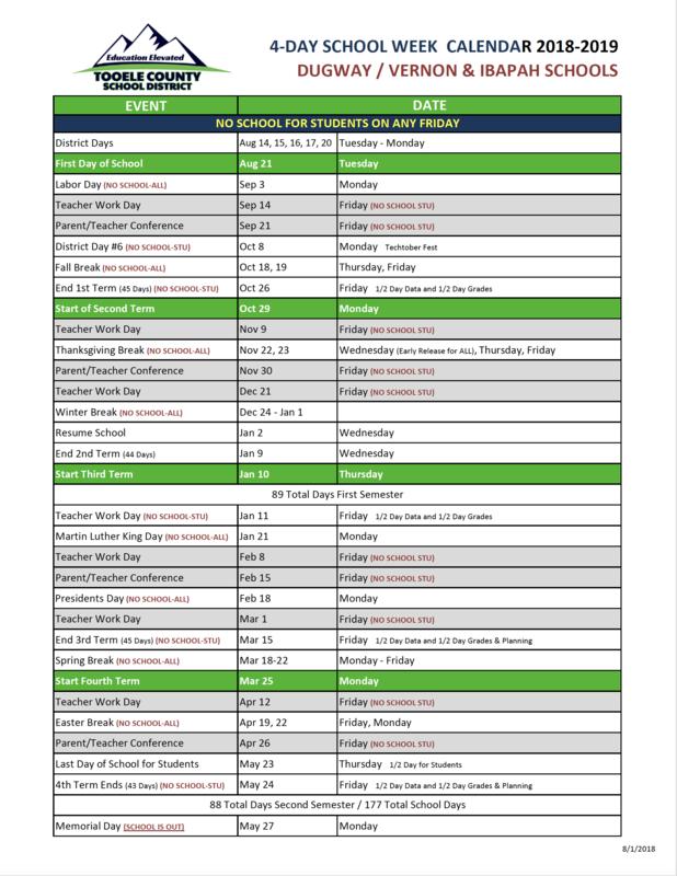 4-Day School Week Calendar 2018-19 Thumbnail Image