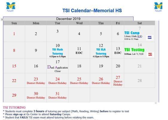 TSI December Calendar