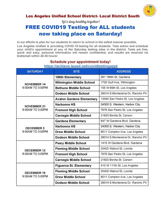 FREE COVID19 Testing for ALL students now taking place on Saturday! Featured Photo
