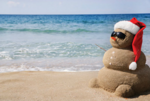 Sand snowman for the holidays