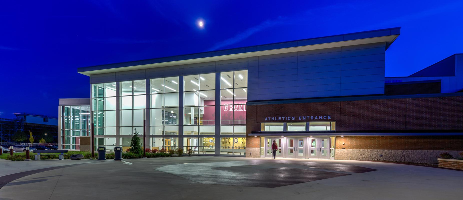 GHS athletic entrance at night