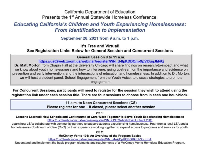 CDE Homeless Education Conference Registration