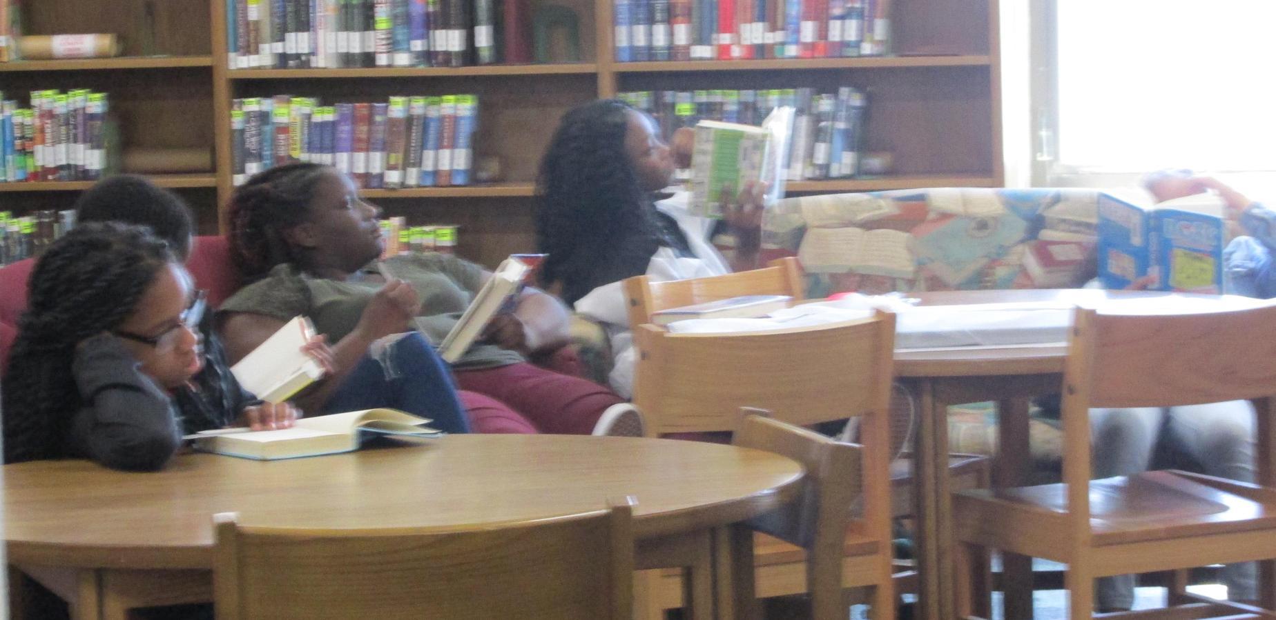 Girls reading in the Media Center