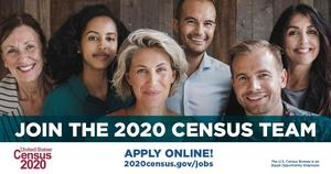 Join the 2020 Census team with several male and female faces smiling at the camera