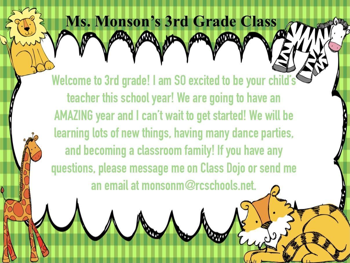 Ms. Monson's 3rd Grade Class 2021-2022