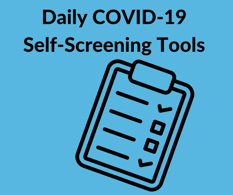 clipboard with words saying COVID-19 Self Screening Tools on it.