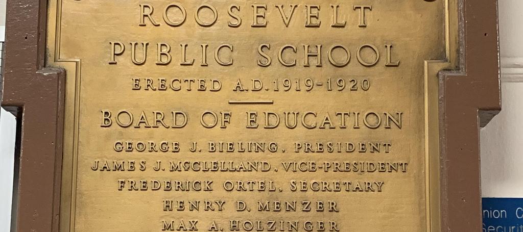 Roosevelt school plaque
