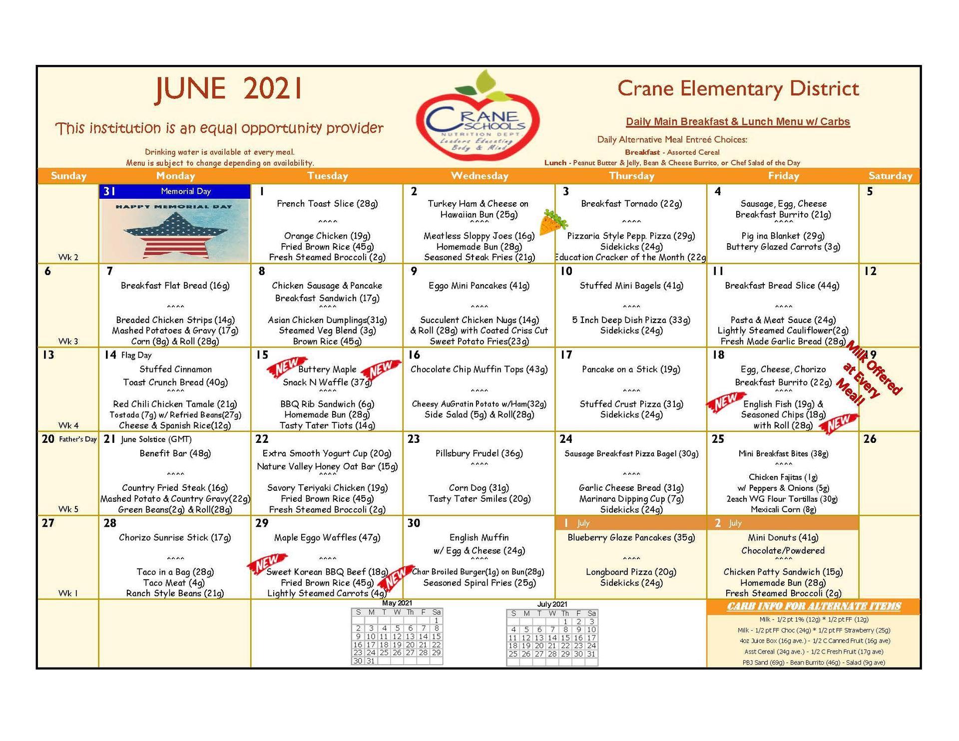 Crane Schools June 2021 Menu