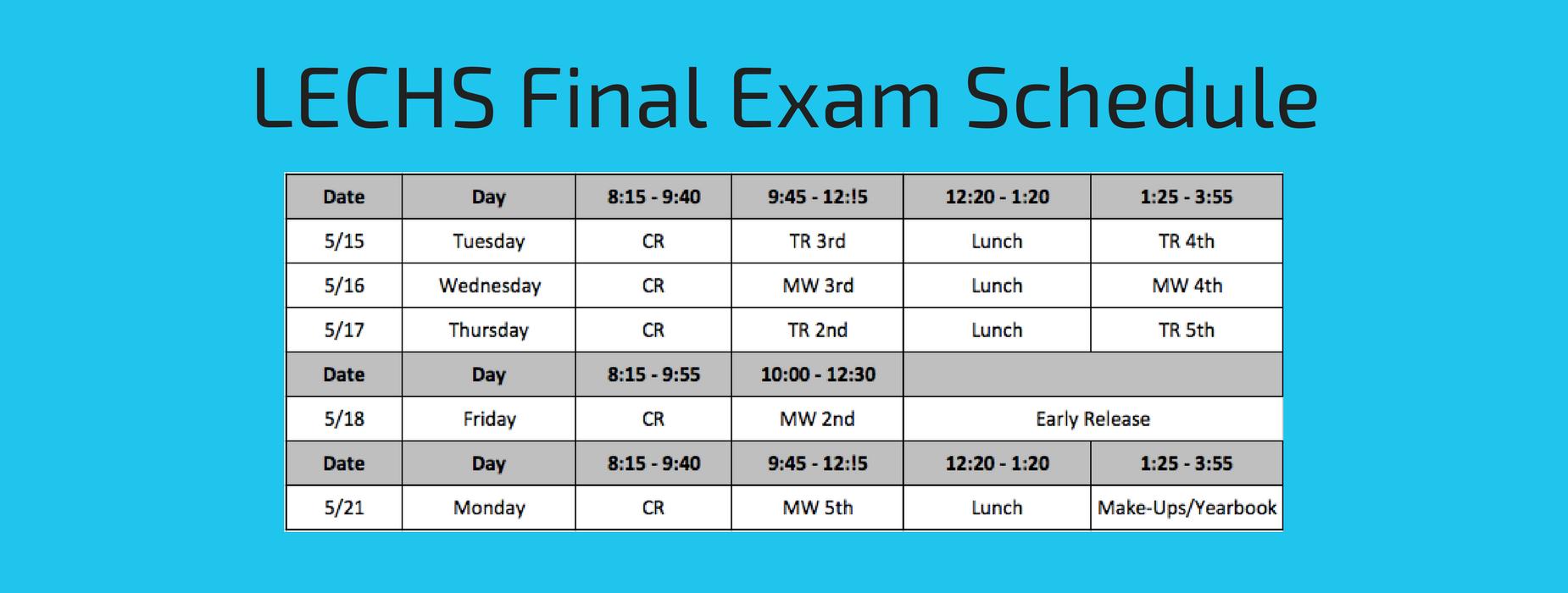 LECHS Final Exam Schedule