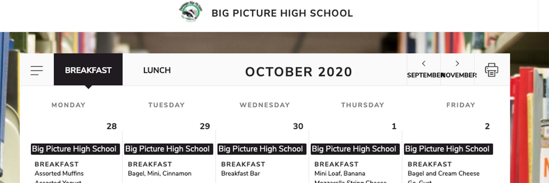 Screenshot of meal calendar