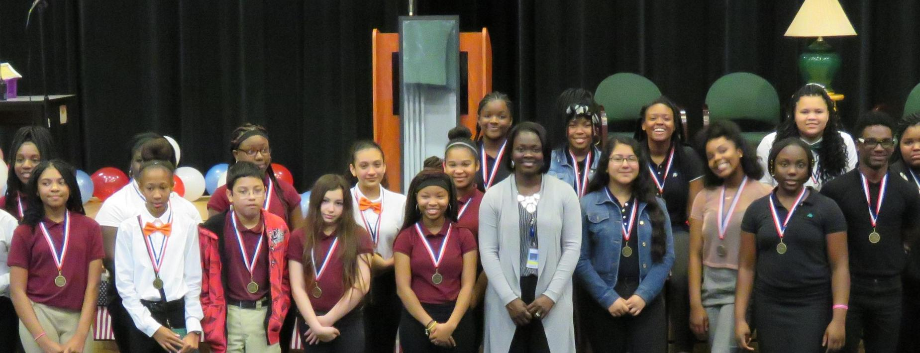 HRMS students and Superintendent Anderson at Awards Program