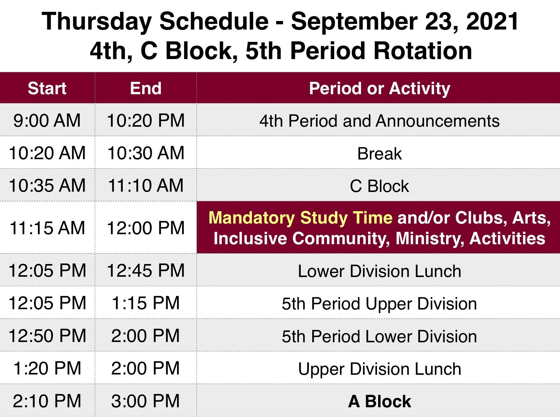 Thursday Schedule September 23 2021 Periods 4, C Block and 5