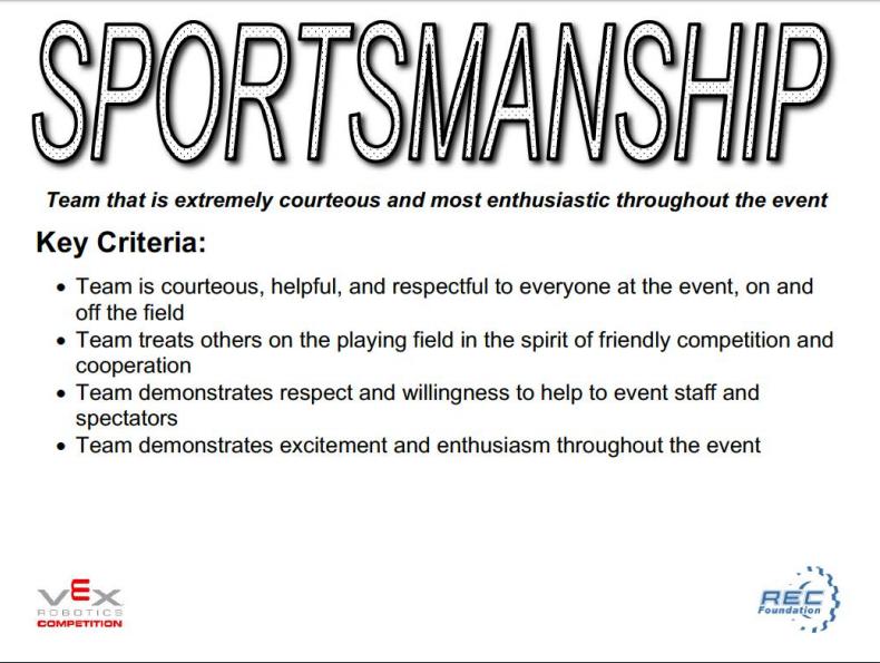 Sportsmanship Award Standards