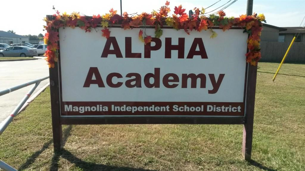 ALPHA Academy main sign outside the campus
