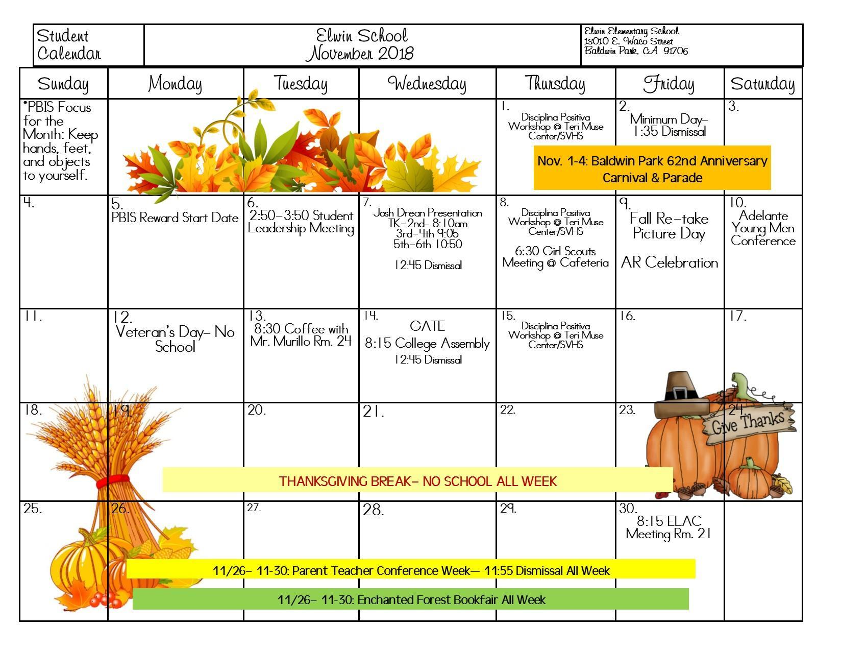 Calendar of Events for November 2018