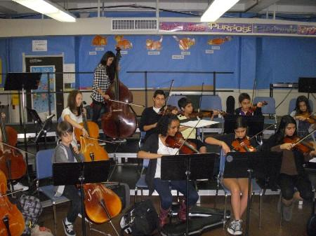 Students playing music