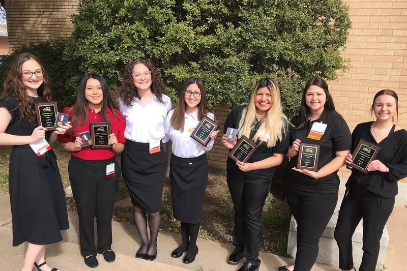 Seven FHS Students with awards from FCCLA competition