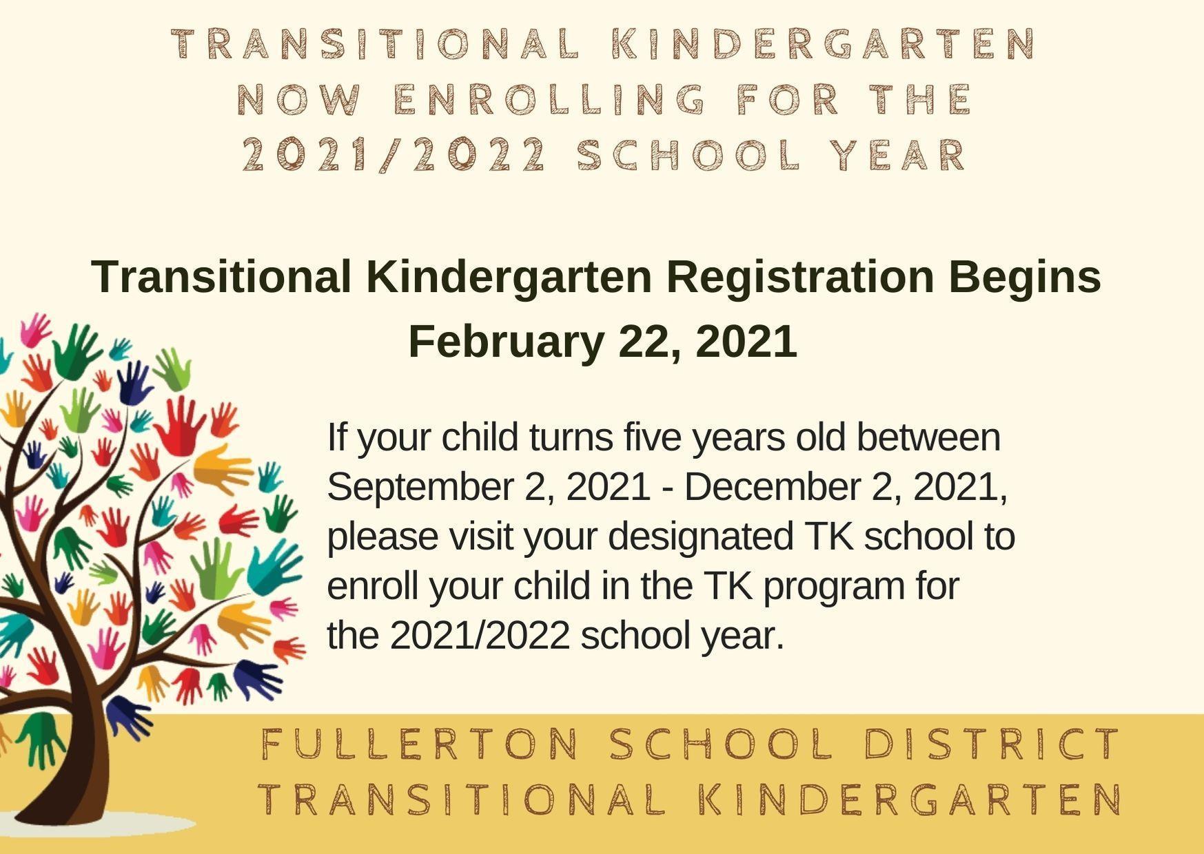 Now Enrolling TK Registration