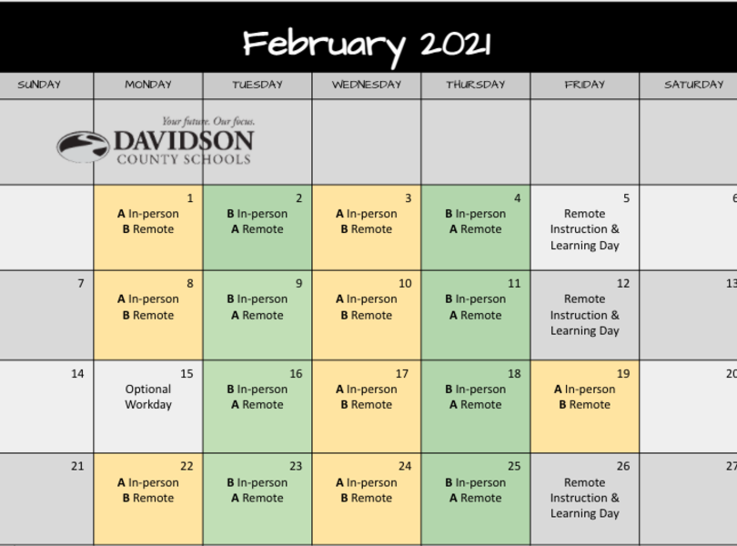 February Remote Learning Schedule