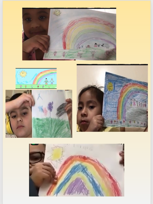 Students holding rainbow drawings collage