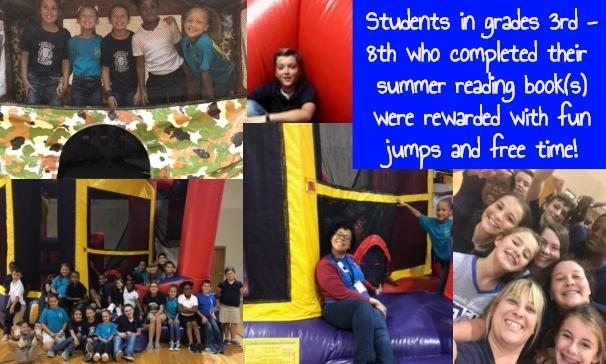 Students in grades 3rd - 8th who completed their  summer reading book(s) were rewarded with fun jumps and free time!