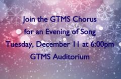 Chorus Concert Tuesday, Dec. 11 at 6:00pm