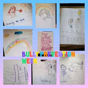 Bully prevention week drawing collage