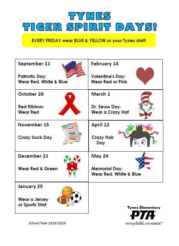 Spirit Days Dates