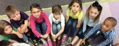 North Elementary kindergartners wear mismatched shoes and socks as a way to think about what it's like to walk in someone else's shoes during HOPE Week.