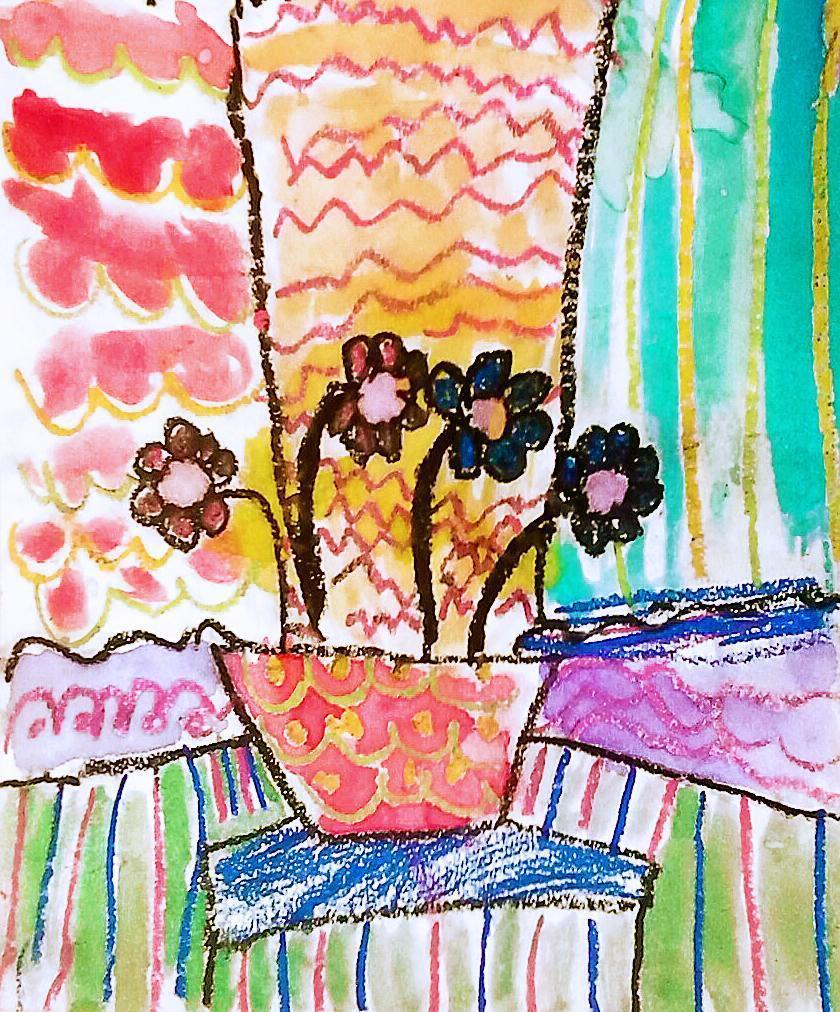 A Kindergarten artist's rendition of flowers in the brightly colorful style of Henri Matisse