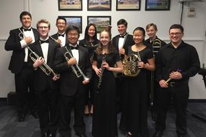 Eleven WHS students will perform with the CJMEA Region II Band in January.  First Row L-R):  Max Tennant, Austin Chen, Tia Lemberg, Aprina Wang, Ian Gurland.  Second Row (L-R):  Duncan Cook, Karl Peter, Kailey Zhao, Robert Strauss, Conor Daly.  Not pictured:  Valerie Chang.