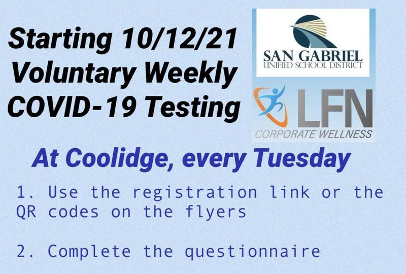Voluntary Weekly COVID-19 Testing at Coolidge Featured Photo