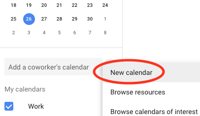 "Select ""New calendar"" in Google Calendar"