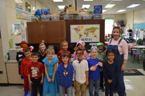 Students dressed for book character day.