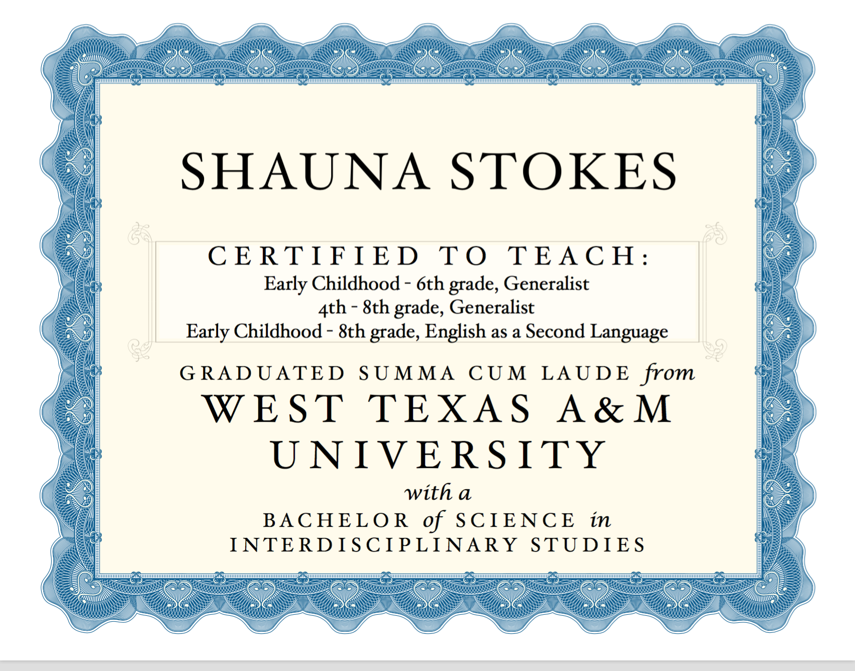 Teaching Certifications